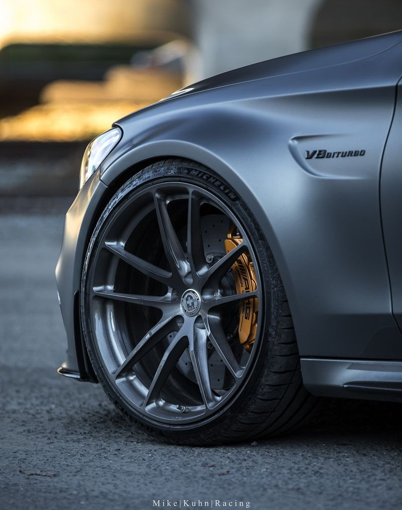 mercedes benz c63s amg with hre p104 in brushed dark clear