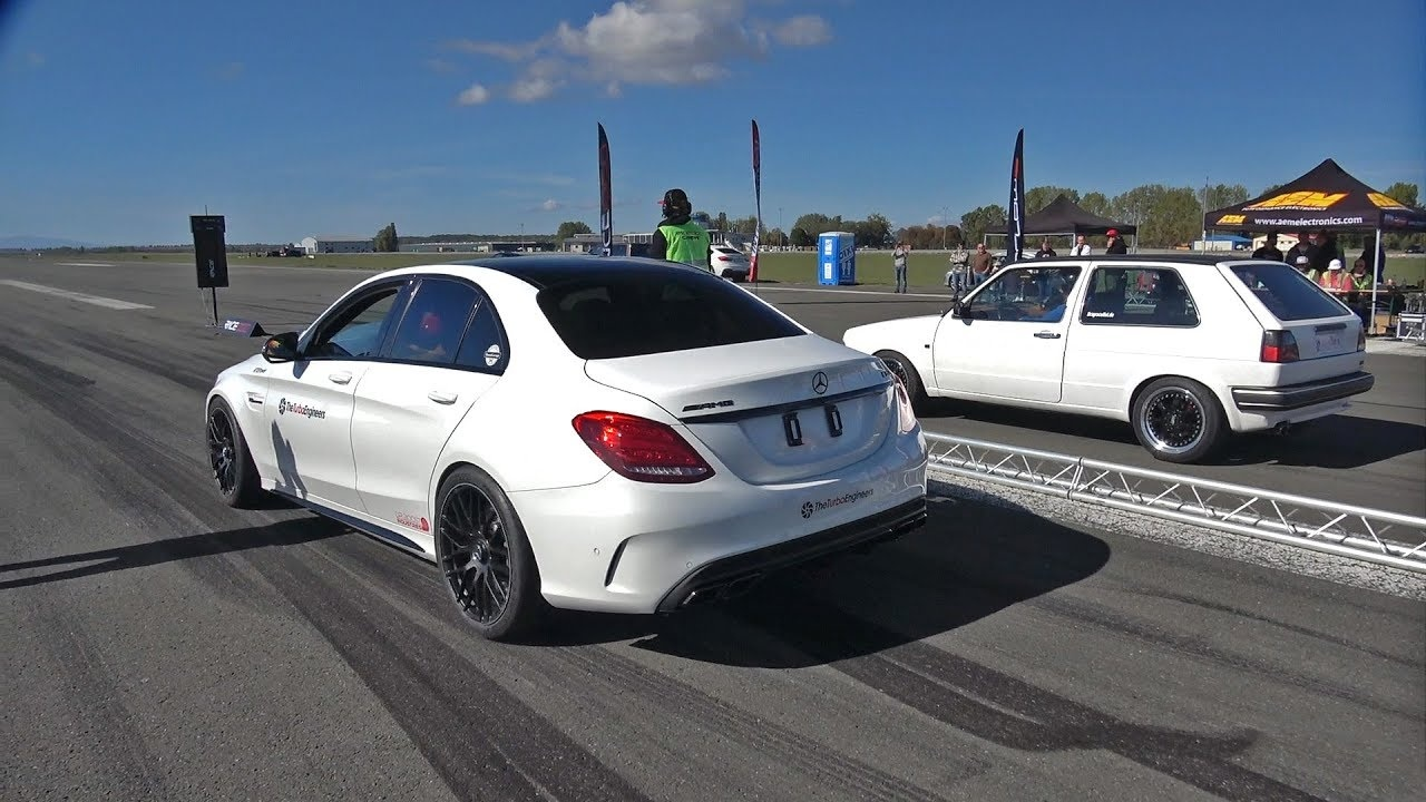 mercedes amg c63s amg tte780 vs vw golf 2 youtube