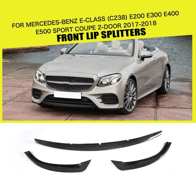 carbon fiber frp black car front bumper lip spoiler for mercedes